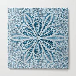 Blue Floral Tile Metal Print