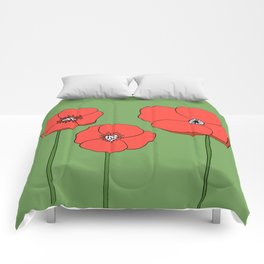 Red Poppies by Emma Freeman Designs Comforters