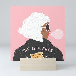 She is Fierce Pink Mini Art Print