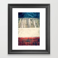Red White and Blue City Textures Framed Art Print
