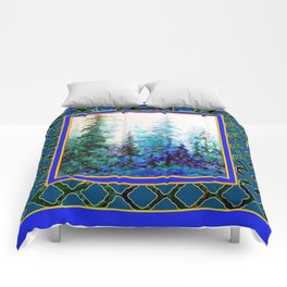 WESTERN  BLUE FOREST WATER COLOR TEAL PATTERN ART Comforters