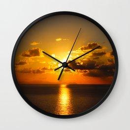 sunset on sea Wall Clock