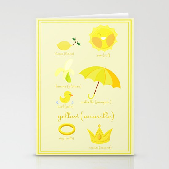 Colors: yellow (Los colores: amarillo) Stationery Cards
