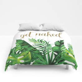 Get Naked Tropical Palm Leaf Jungle, Gold Quote Comforters