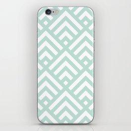 Turquoise Blue geometric art deco diamond pattern iPhone Skin