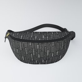 Black and White Boro Embroidery Stripes Fanny Pack