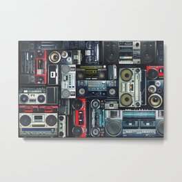 Vintage wall full of radio boombox of the 80s Metal Print