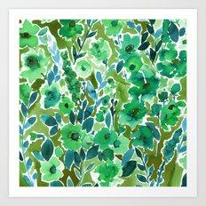 Isla Floral Green Art Print