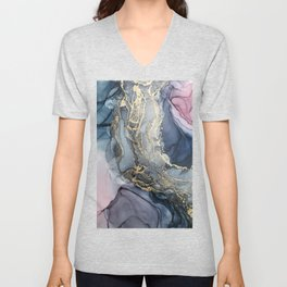 Blush, Payne's Gray and Gold Metallic Abstract Unisex V-Neck
