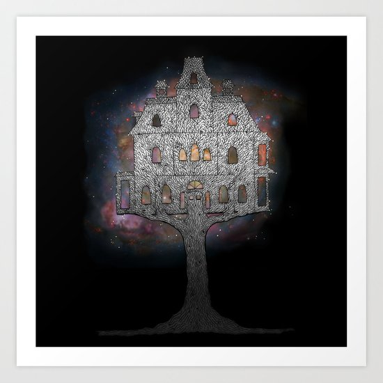 Cosmos Tree House B/W Art Print