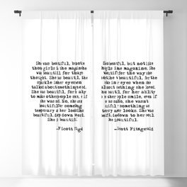 She was beautiful - Fitzgerald quote Blackout Curtain