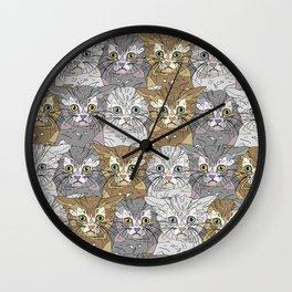 Kitties Galore Pattern Wall Clock