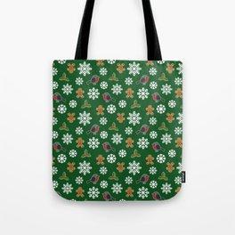 Christmas / Winter Robin Holly Gingerbread Man Snowflakes Pattern Green Tote Bag