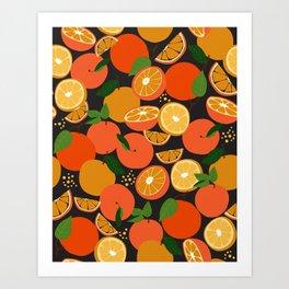 Oranges on black Art Print