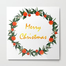 Christmas wreath with oranges Metal Print