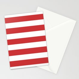Madder Lake - solid color - white stripes pattern Stationery Cards