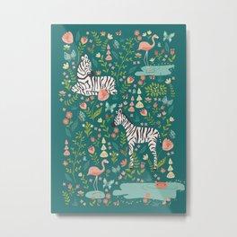 Wild Zebras in Green Garden Metal Print