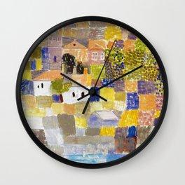 Sicilian Mediterranean Seaside Modern Landscape by Paul Klee Wall Clock