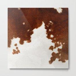 brown cowhide watercolor Metal Print