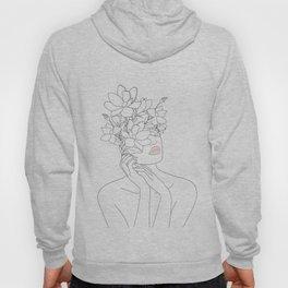 Minimal Line Art Woman with Magnolia Hoody