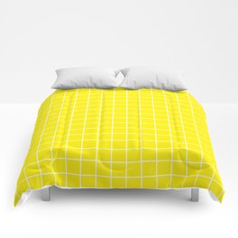 Yellow (process) - yellow color -  White Lines Grid Pattern Comforters