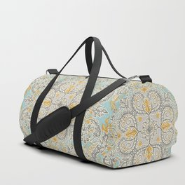 Gypsy Floral in Soft Neutrals, Grey & Yellow on Sage Duffle Bag