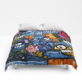 Comic strip on a wall Comforters