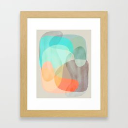 Shapes and Layers no.29 - Blue, Orange, Gray, abstract painting Framed Art Print