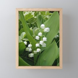 Pure White Lily of the Valley Flower Macro Photograph Framed Mini Art Print