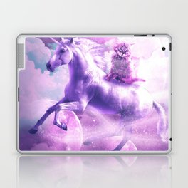 Kitty Cat Riding On Flying Space Galaxy Unicorn Laptop & iPad Skin