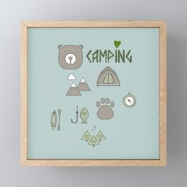 Camping Collage with Bear Tent Mountains and More Framed Mini Art Print