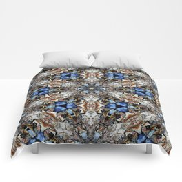 River Birch bark with blue sky kaleidoscope Comforters