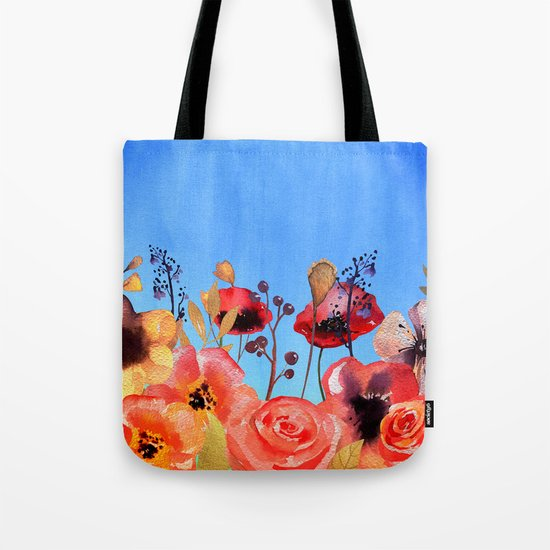 Summer meadow with Flowers and Poppies  in Twilight on #Society6 Tote Bag
