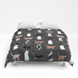 Kitty Cats in Rose Gold and Black and White Marble Comforters