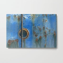 Blue Rusty, Grungy Ship Detail Metal Print