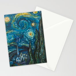 Modern interpretation of Vincent Van Gogh's scene of The Starry Night. Stationery Cards