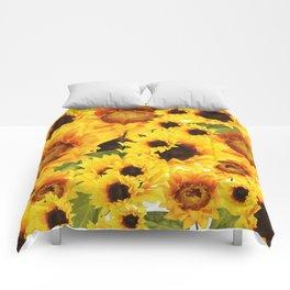 Wild yellow Sunflower Field Illustration Comforters