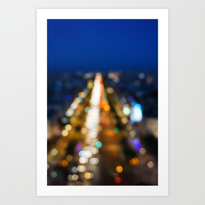 Paris Nighttime Traffic Art Print
