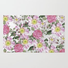 Vintage Rose Pattern Pink and White Rug