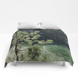 Sunny River Canyon With Churning Water and Pine Tree Comforters