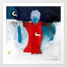 woman in the wind Art Print