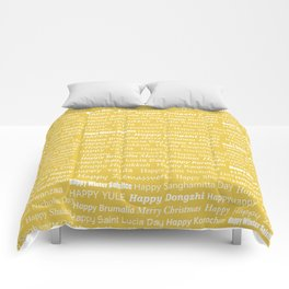 Happy Holidays! in Gold Comforters