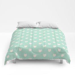 Cute dainty mint cats pattern Comforters
