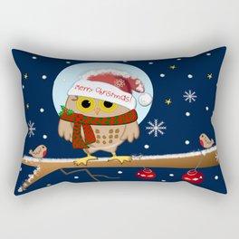 Owl's Christmas in a snowy world Rectangular Pillow