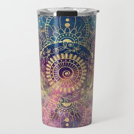 Gold watercolor and nebula mandala Travel Mug