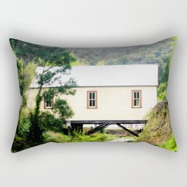A fire station built over a Creek Rectangular Pillow