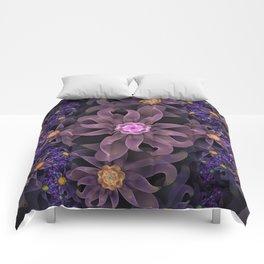 UltraViolet Glass Garden of Midnight DahliaFlowers Comforters