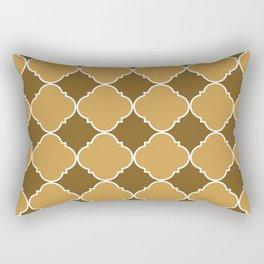 Brown and Beige Ornamental Pattern with White Border Digital Artwork Rectangular Pillow