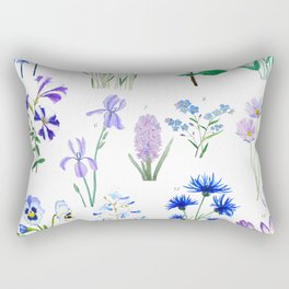 blue and purple flower collection watercolor Rectangular Pillow