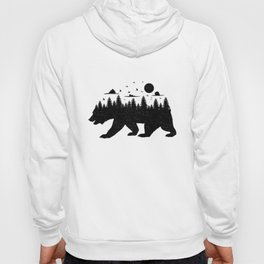 Bear Forest T Shirt Grizzly Silhouette Motif Nature Fusion Hoody